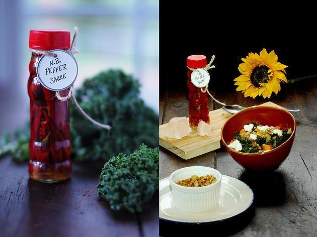 Braised Kale, Rye Crumble, Feta and N.B Pepper Sauce