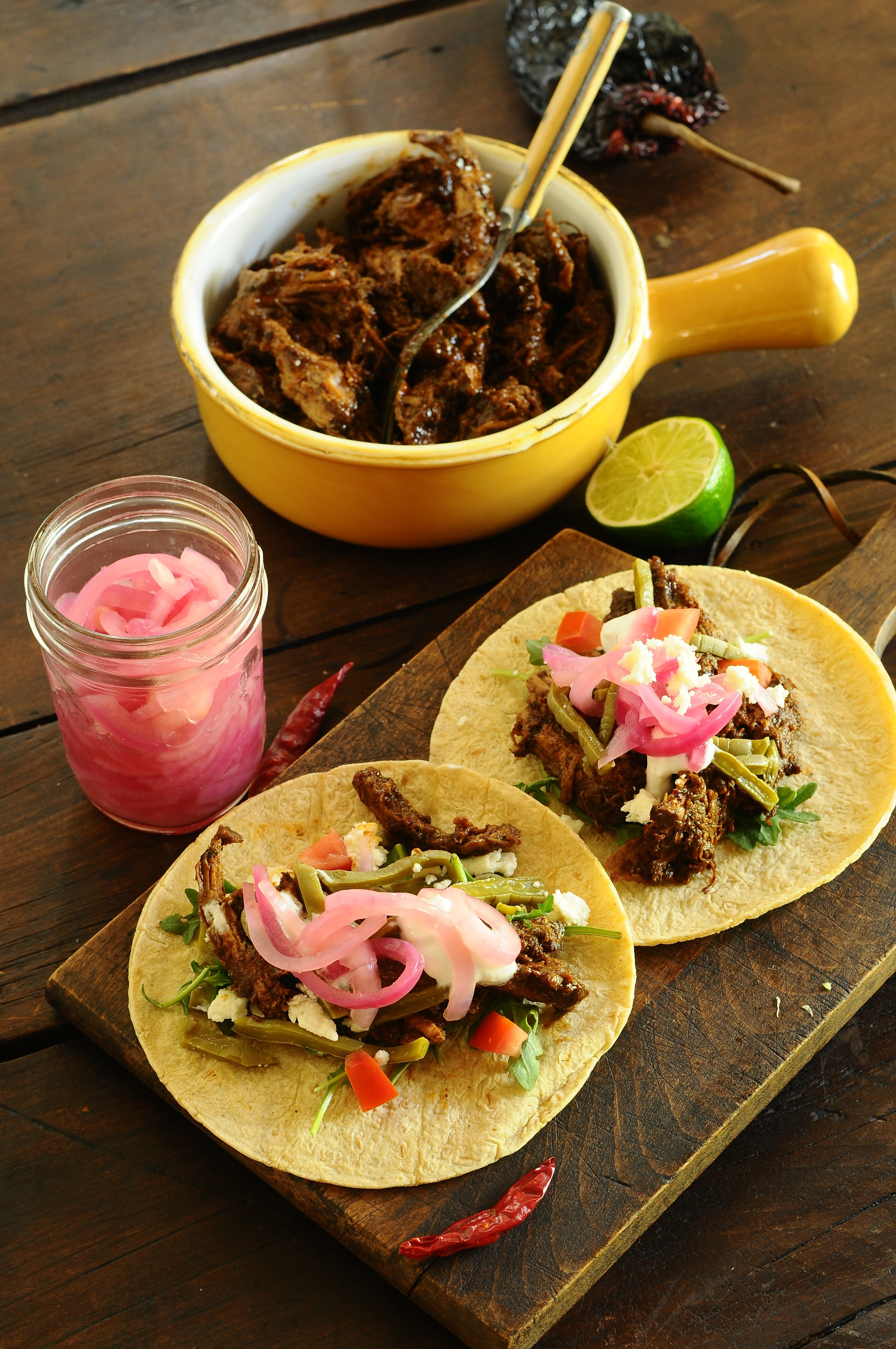Wild boar taco with Nopales salad and pickled red onions