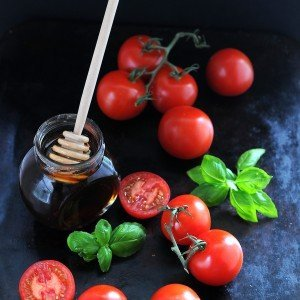 Honey roasted tomatoes with basil and chili peppers