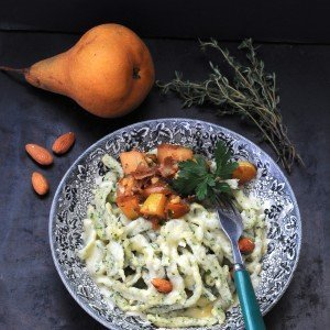 Cheese Spaetzle with Almond and Pear Schmelz