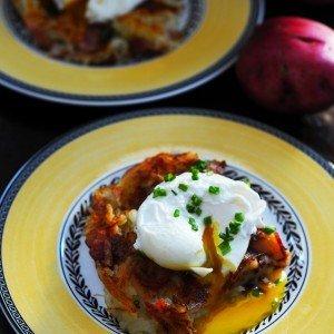 Potato, bacon and poached egg