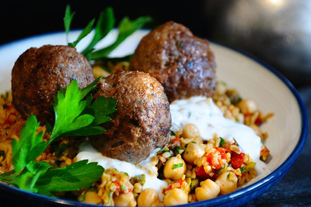 Lemon Bulgur Pilaf, Lamb Meatballs, Yogurt & Israeli Hot Sauce ...